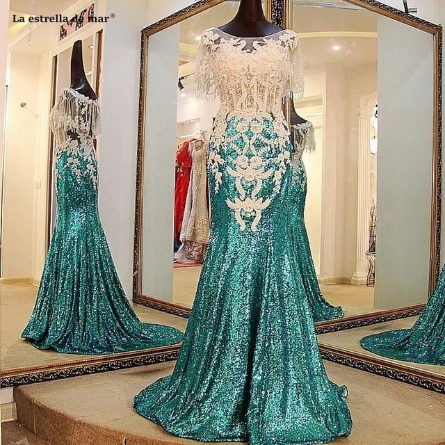 Gala En Feestjurken.La Estrella De Mar Gala Jurken 2019 New Sequins Crystal Cloak Sexy