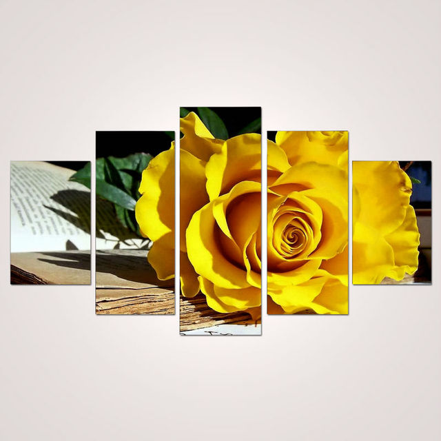 2017 5 Panel Beautiful Yellow Roses Painting Canvas Flowers Wall Art ...