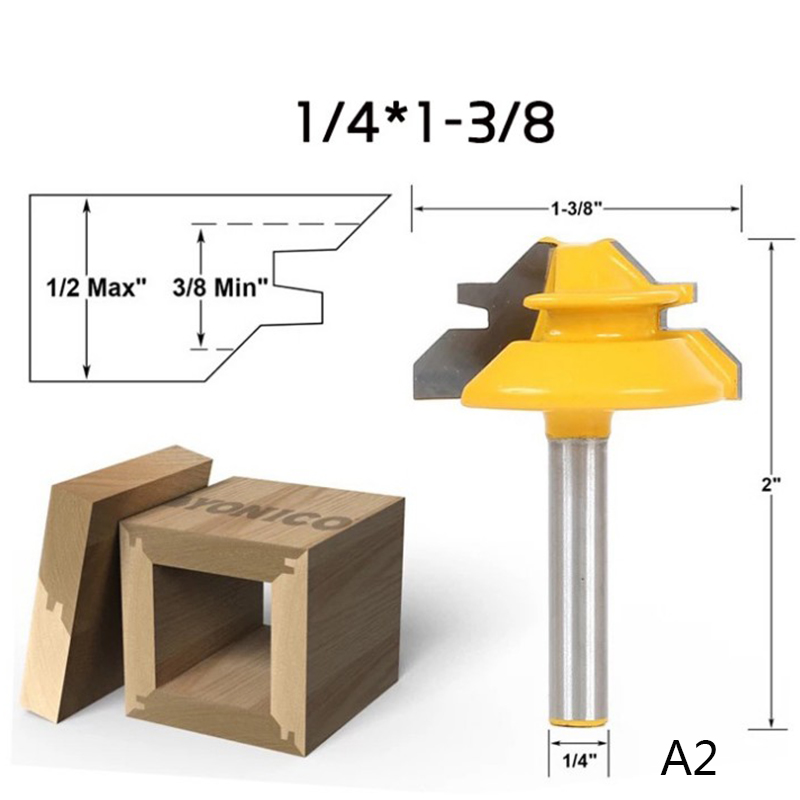 45 Degree Lock Miter Router Bit 1/4 Inch Shank Woodworking Tenon Milling Cutter Tool For Wood