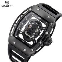 2017 SKONE полые силиконовые часы мужской уникальный Дизайн череп Часы Для мужчин Элитный бренд Спорт кварцевые наручные часы Relogio Masculino