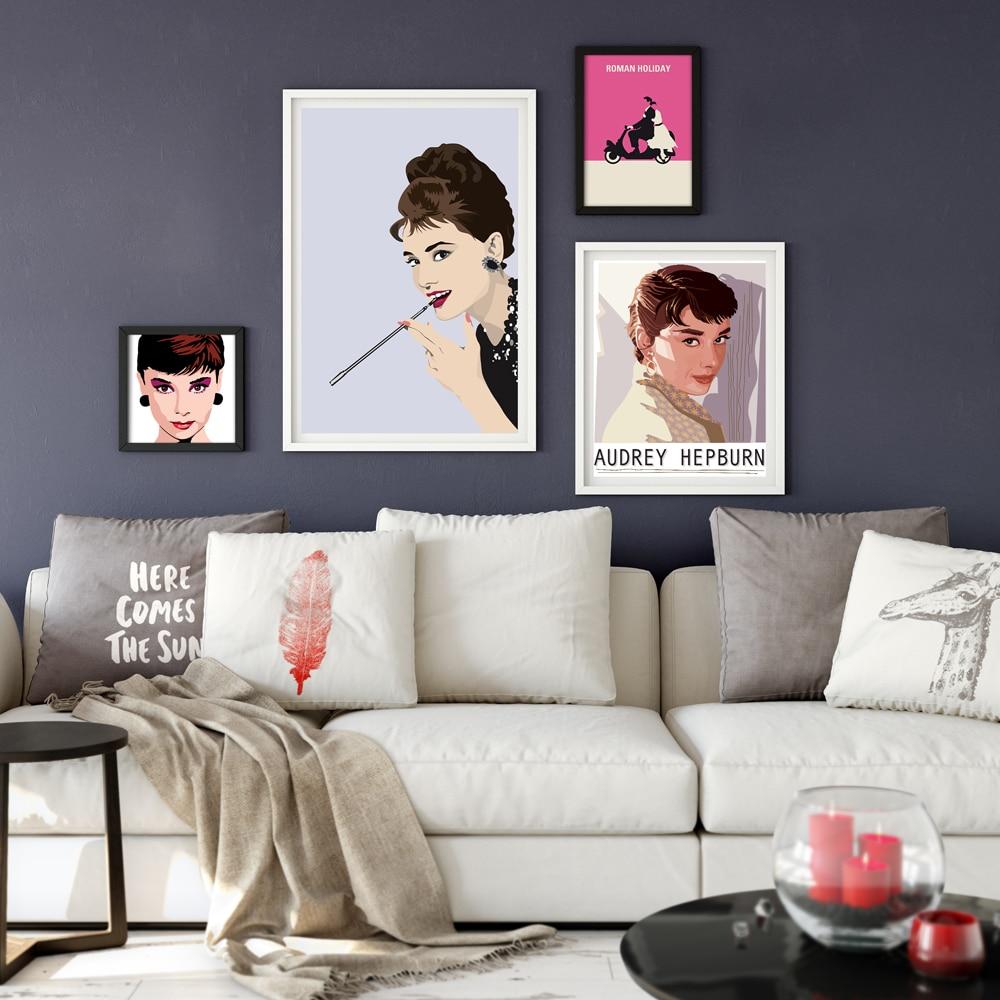 Audrey Hepburn Modern Classic Movie Star A4 Canvas Painting Art ...