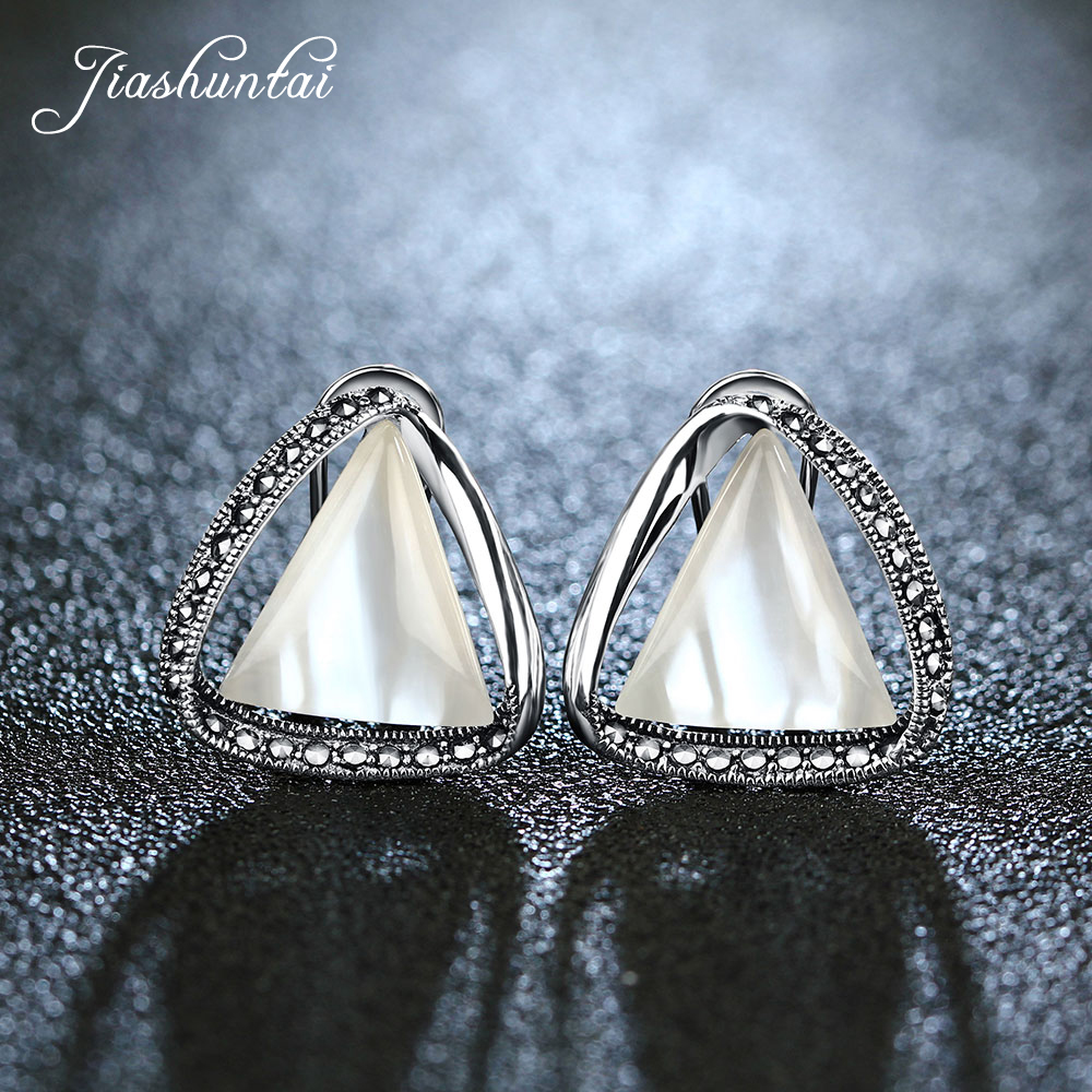 JIASHUNTAI 925 Sterling Silver Retro Clip Earrings Triangle Female Silver Jewelry For Women Fashion pair of graceful rhinestone triangle earrings jewelry for women