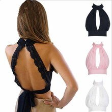 new arrival sexy halter top women bustier crop chiffon wrapped chest