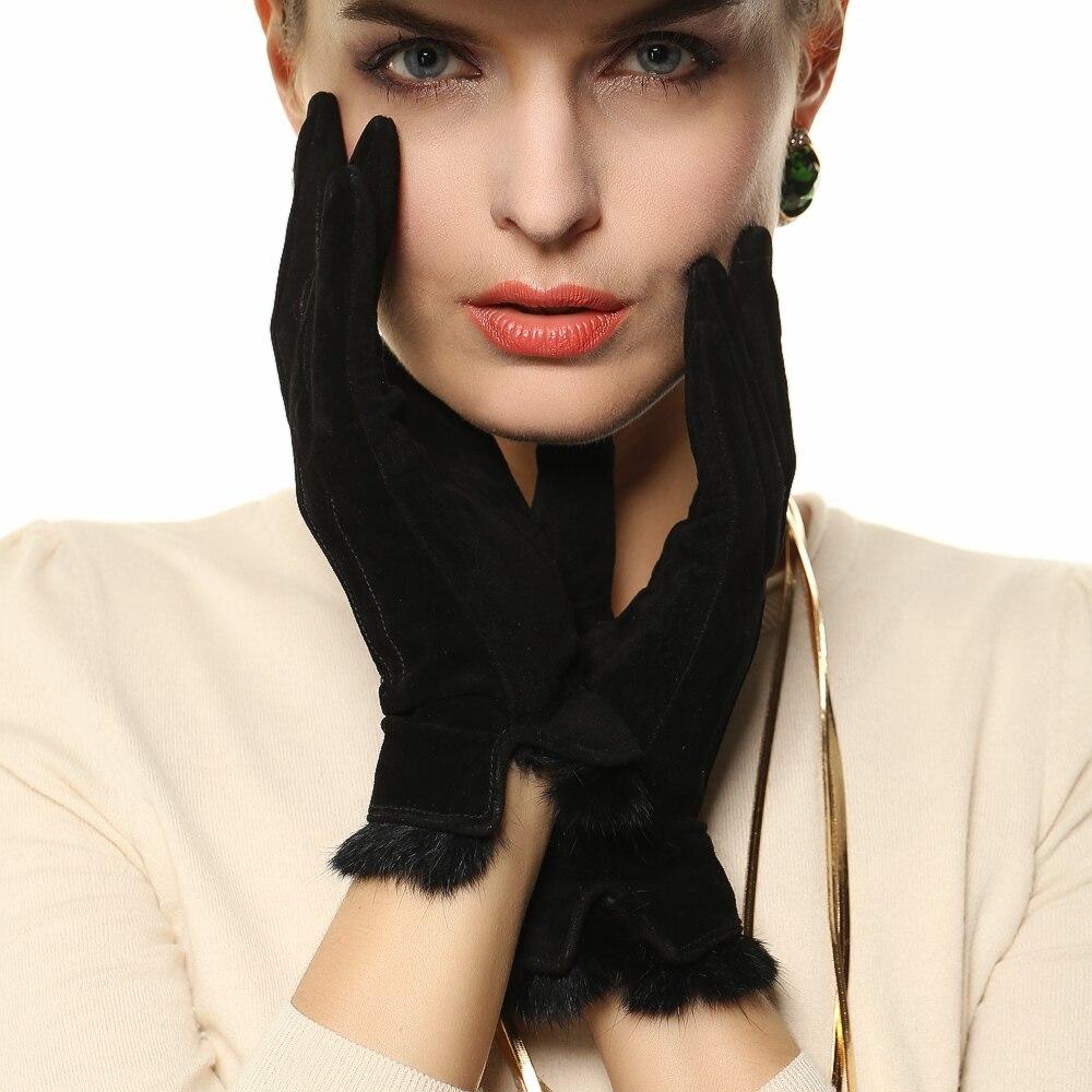 Driving gloves wholesale - Special Offer 2017 Women Gloves Wrist Solid Rabbit Hair Pigskin Suede Glove Fashion Short Genuine Leather