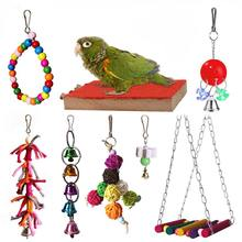 Bird Parrot Toys Hanging Bell Pet Bird Cage Hammock Swing Toy Wooden Hanging Perch Toy For Small Parakeets Cockatiels,Conures,(China)