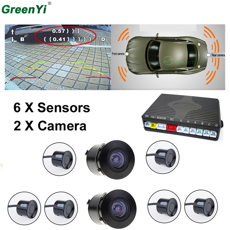 Dual Core Car Video Parking Sensor System With 6 Sensors 2 Rear Camera (1 For Front, 1 For Back) Show Distance At The Same Time koorinwoo dual core car  parking sensors