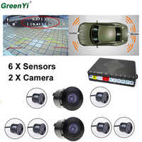 Dual Core Car Video Parking Sensor System With 6 Sensors 2 Rear Camera (1 For Front, 1 For Back) Show Distance At The Same Time