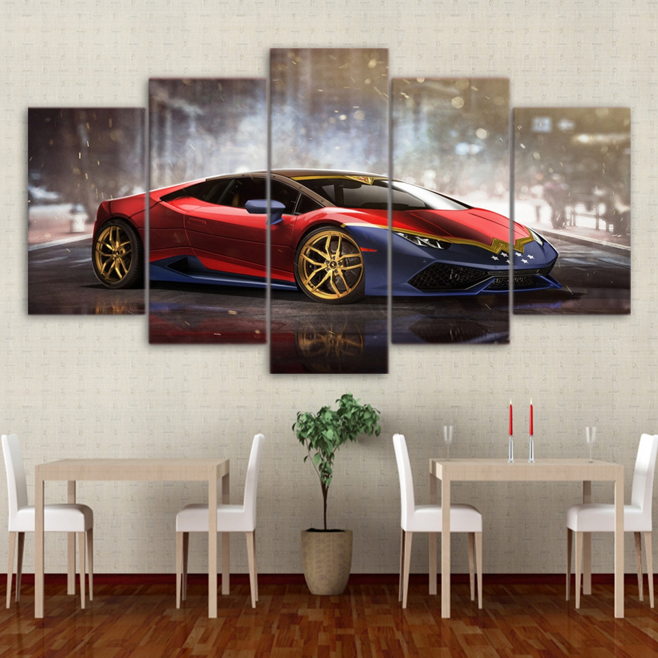 Canvas Painting Wall Art Frame Home Decor Living Room Pictures 5 Pieces Red Luxury Sports Car Huracan Posters HD Printed PENGDA