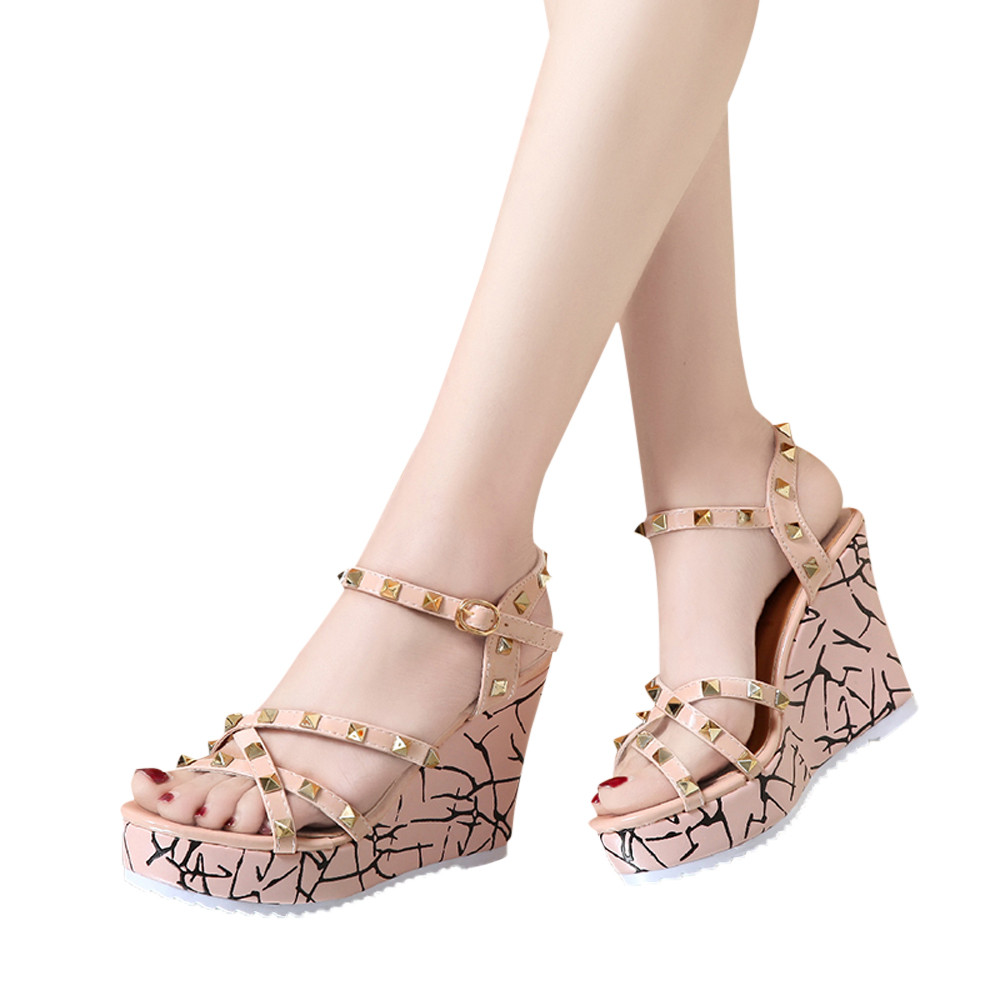 Zapatos Mujer 2018 Shoes Woman Sandals Wedge Summer Lady Fashion High Heels Sandals Elegant Rivets Women Shoes Platform Wedges 7