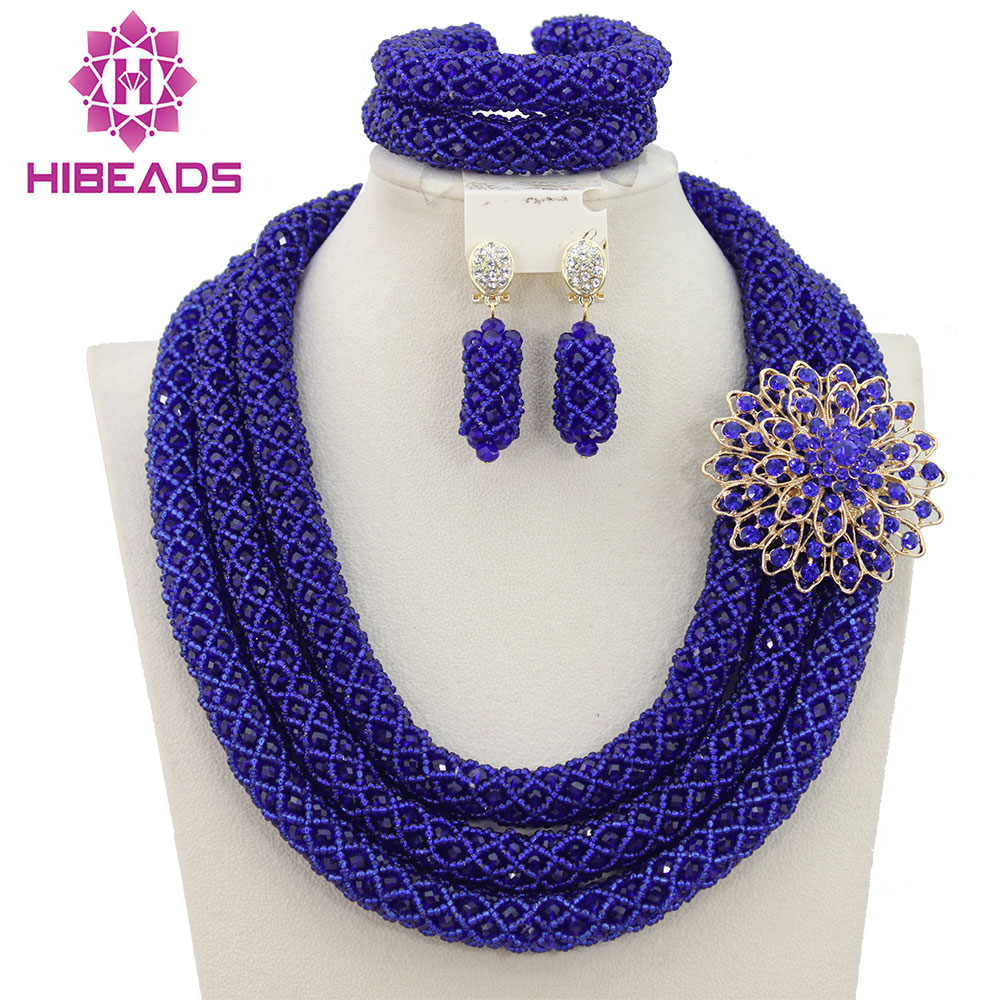 Splendid Royal Blue Wedding Jewelry Sets for Brides Women African Beads Jewelry Set Fashion Jewelry Sets Free Shipping QW334 new sky blue fashion natural stone fashionable african beads jewelry sets jewelry for women free shipping jb123