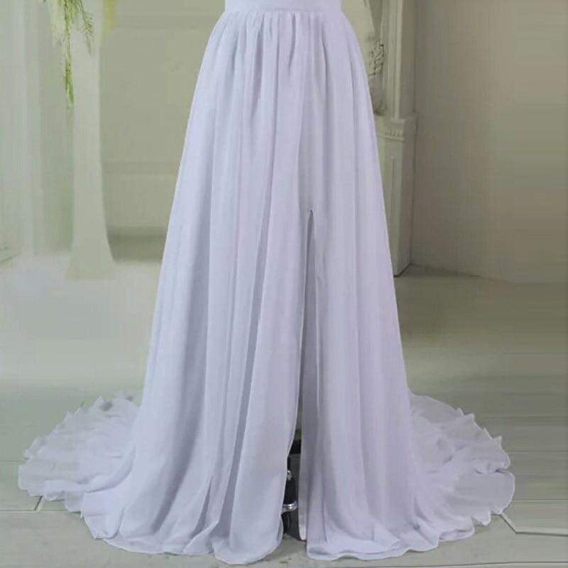 Elegant Chiffon Long Skirt Womens Front Split Sweep Train Prom Skirt High Quality Pleated Vintage Bridal Wedding Skirts