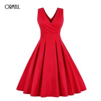 ORMELL Deep V Sexy Women Dress 2017 Summer Sundress Solid Color Red Navy Retro Dress Plus Size 4XL Party Club OL Dresses