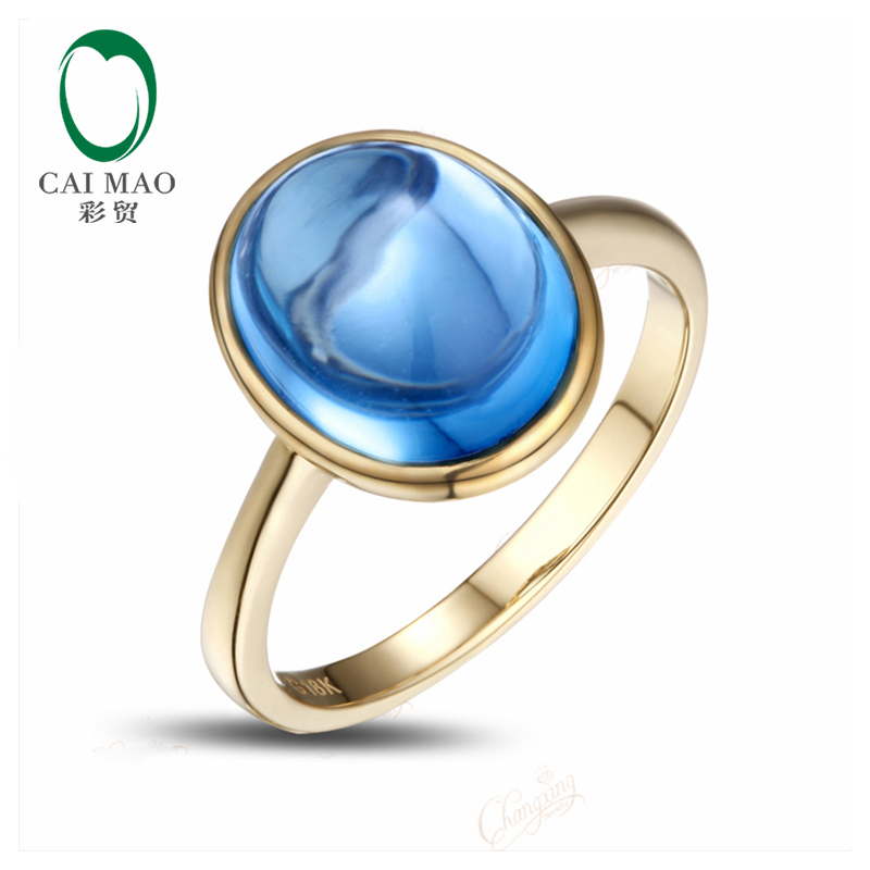 5.32CT Cabochon Cut Bezel Set Blue Topaz Solitaire 14K Yellow Gold Ring