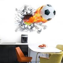 Firing football through wall stickers kids room decoration 1473. home decals soccer funs 3d mural art sport game pvc poster 5.0