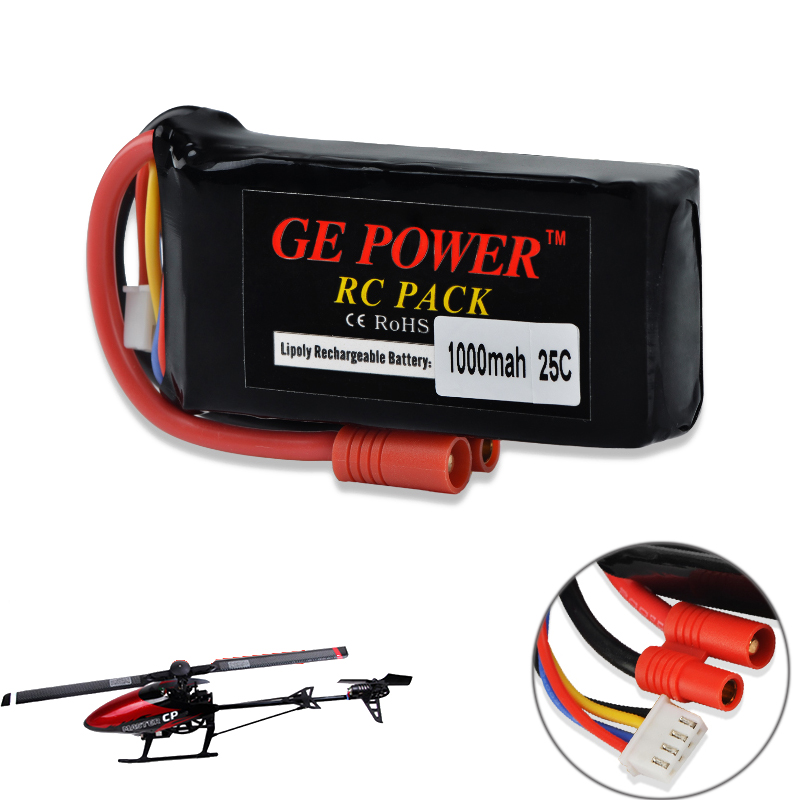 GE Power Rc <font><b>Lipo</b></font> Battery 11.1V <font><b>1000mAh</b></font> 25C <font><b>3S</b></font> <font><b>Lipo</b></font> Battery With 3.5MM Banner Connect for Walkera Master CP HM-Master CP-Z-27 image