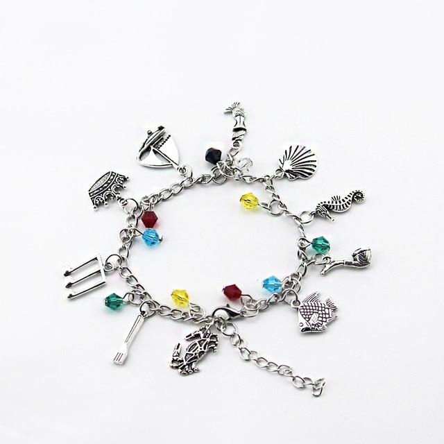 The Little Mermaid Charm Bracelet Disneys Ariel Crab Fish S Gift Crown Note