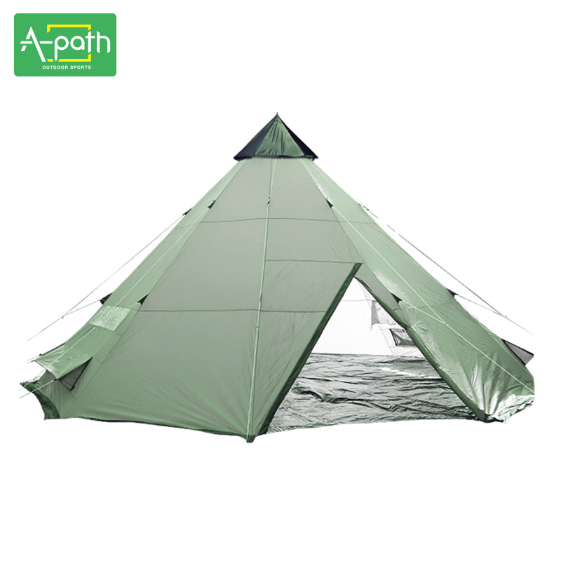 8-10 Person Tipi Outdoor Large Camping Windproof Waterproof Indian Luxury Steeple Family Teepee Folding Folding Tent Shelter luxury large indian singler layer 10persons outdoor camping tent with waterproof and anti wind traveling tent in good quality
