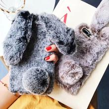 Luxury Rabbit Fur Case For iPhone XS, XR, XS Max 8 Plus Furry Soft TPU Cover Samsung Galaxy S8 S9 Lovely Phone Cases