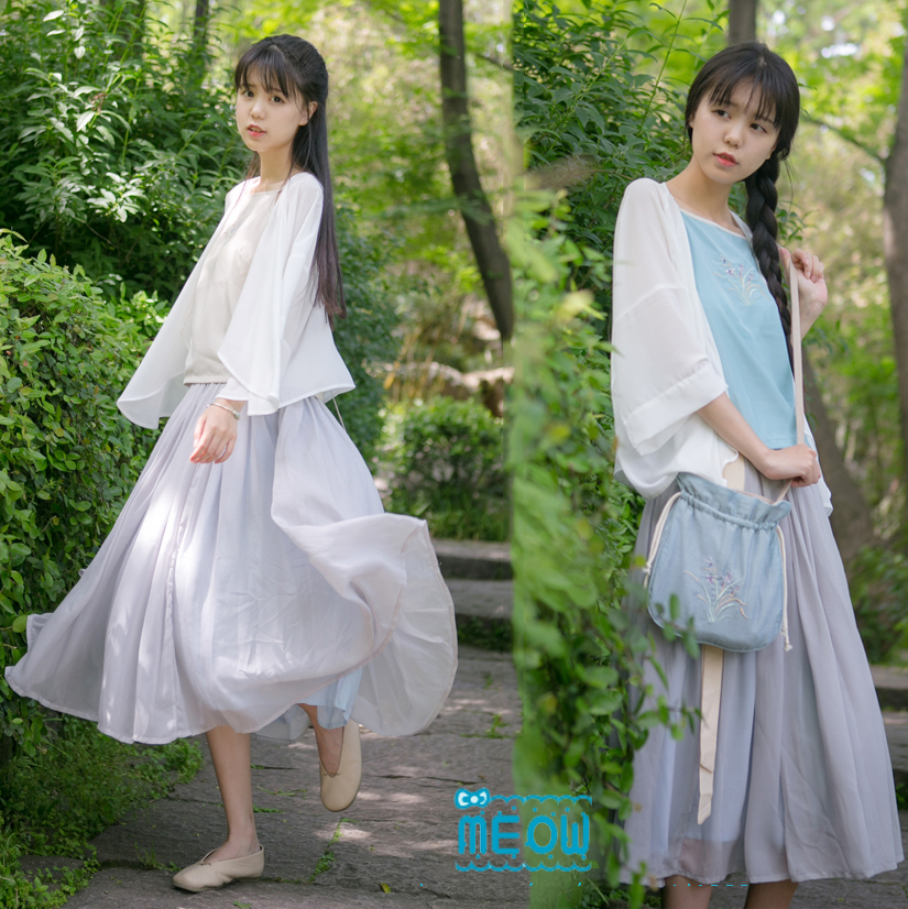 Longue Pcs Style Jarretelles Bleu Ensemble Blouse