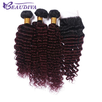 BEAUDIVA Pre Colored T IB/Burg Ombre Color Remy Human Hair Deep Wave Bundles with 4*4 Lace Closure One Pack