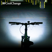 CoolChange Electric Bike Bell USB Charging 140 db Rainproof Horn Cycling Horn Light Headlight Bicycle Ring Bell Accessory