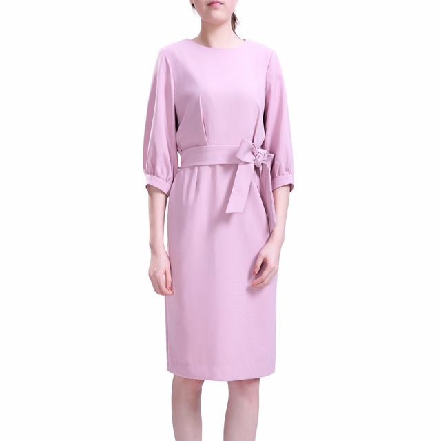 2016 Hot Sale Elegant Solid 1/2 Sleeve Slimming Midi Wear to Work Dress with Belt (XS-XL)