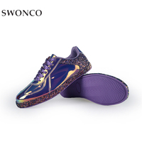 SWONCO Women Sneakers Gold Glitter Size 41 Black hole Color Female PU Leather Sneakers For Woman Golden Sneaker Outdoor Glossy