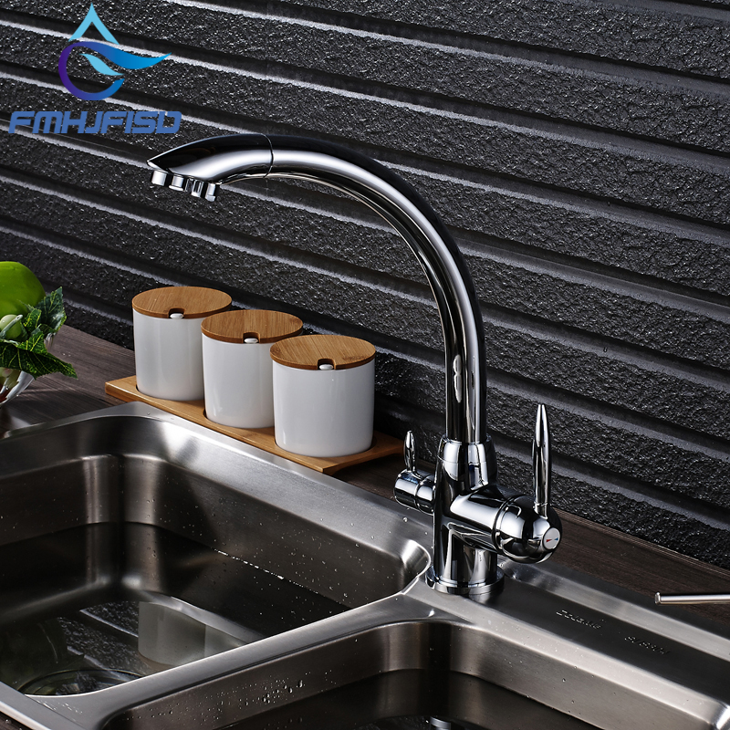Chrome Finish Kitchen Purification Faucet Deck Mounted Dual Handles Mixer Water Taps us free shipping dual handles kitchen mixer tap faucet pure water filter chrome finish