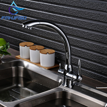 Хромированная отделка Кухня очистки кран на бортике Двойной Ручки Смесители воды