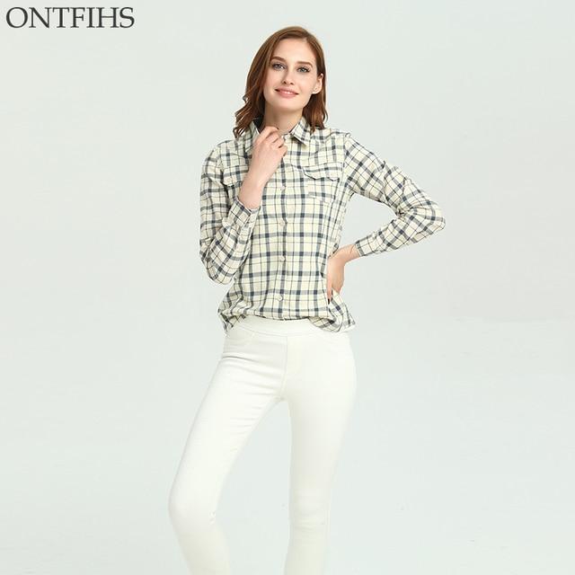 Bianco Quadri Donne Ontfihs Camicie Camicette A Camicia Di Cotone YwfqwZ0