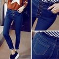 2015 moda outono mulher Jeans Skinny Slim botão azul voar calças lápis calças de cintura alta Jeans feminina