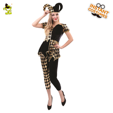 e16d33d7fc2a Women Diamond Clown Costumes Adult Deluxe Circus Girl Cosplay Costumes  Female Carnival Party Pretty Evil Jester