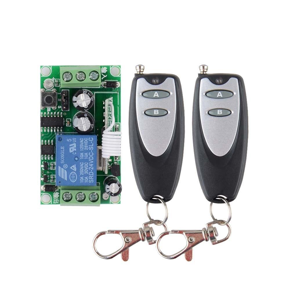 DC 24 V 1CH 10A Relay RF Wireless Remote Control Switch Wireless Light Switch ; 1PCS Receiver + 2PCS Transmitter high quality dc24v rf wireless remote control switch 4ch 10a 1pcs receiver
