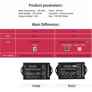Image 2 - TC420 TC421 TC423 светодиодный контроллер времени Wi Fi 12 В/24 В постоянного тока, 5 каналов, общая выходная мощность 20 А, общий анод светодиодный светодиодных фонарей