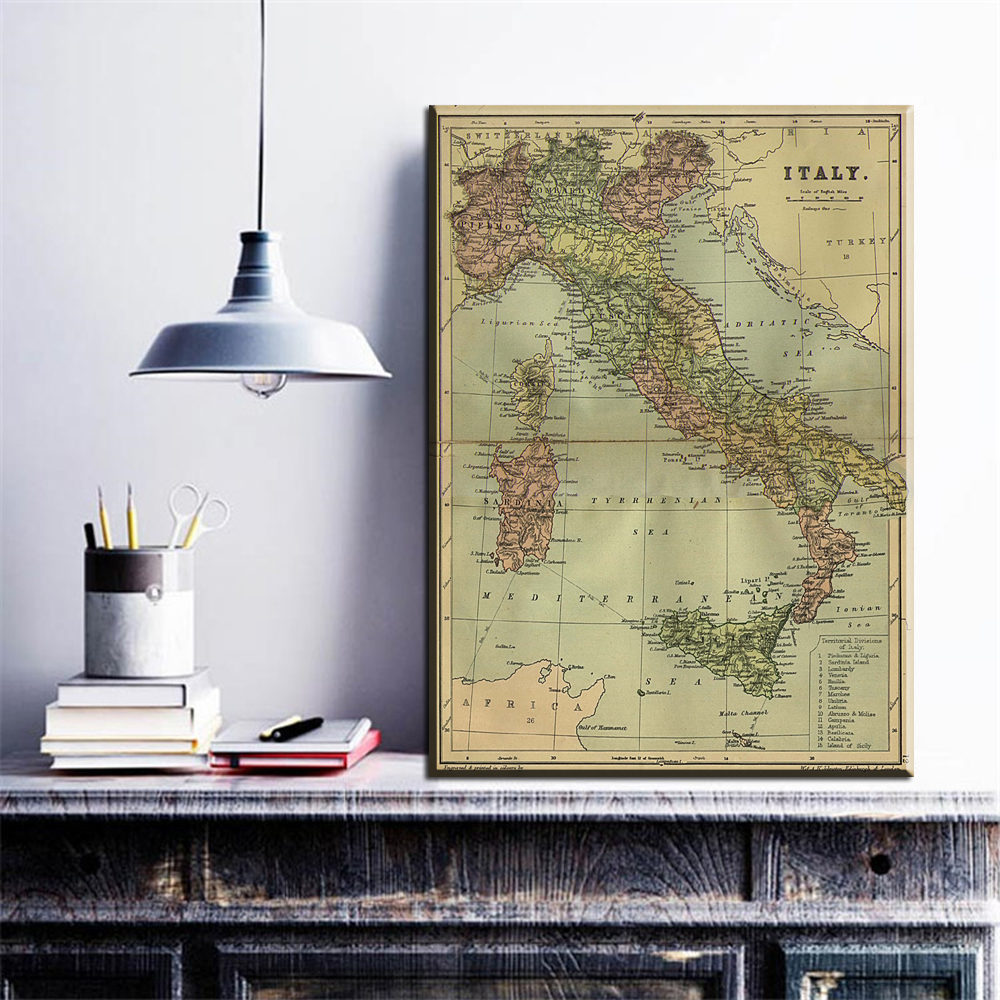 graphic about Unf Printable Map named US $7.44 40% OFFxll281 2017 Cuadros 1computer Scorching Promote Term Map Italy Nation Map Innovative Residence Wall Decor Canvas Visualize Artwork High definition Print Portray Established Unf-within just