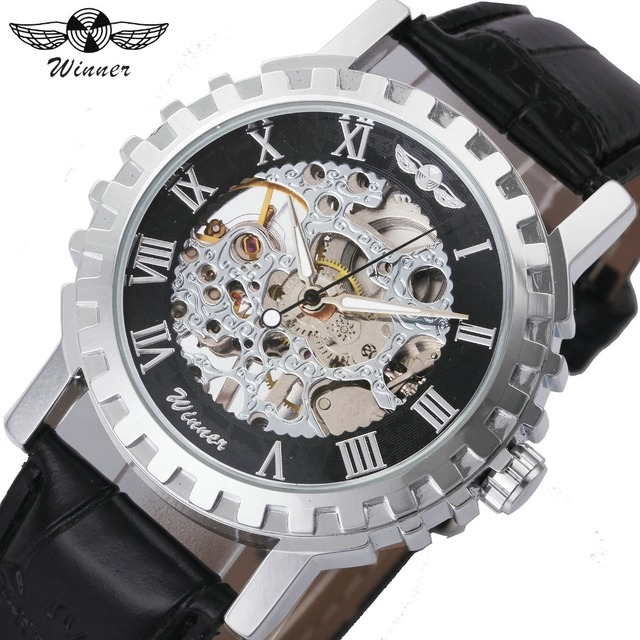 WINNER Casual Unisex Men Mechanical Watch Leather Strap Skeleton Dial Roman Numb