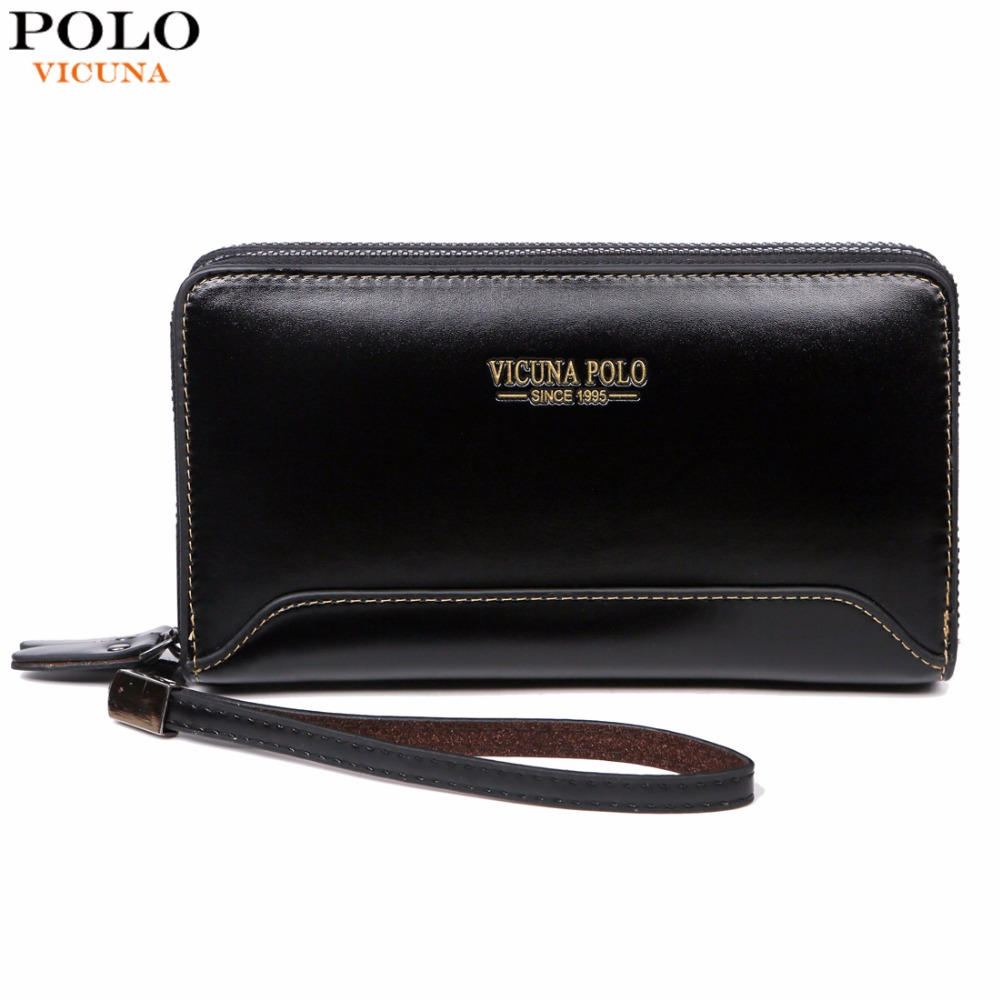 VICUNA POLO Double Pocket Casual Multilayer Men Clutch Wallet Large Capacity Brand Luxury Male Leather Man Clutch Purse Bag