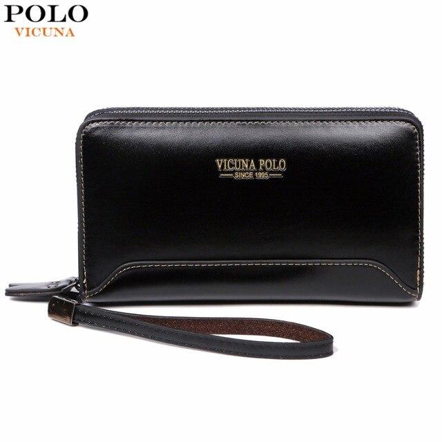 VICUNA POLO carteira clutch masculina multicamadas casual de bolso duplo f067685d7632a