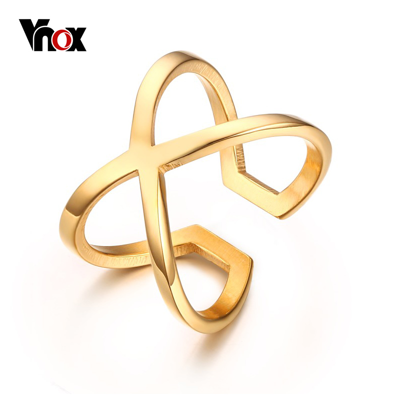2017 Special Offer Promotion Women Anillos Women's x Criss-cross Long Ring Trendy Gold-color Hollow Wedding Female Jewelry