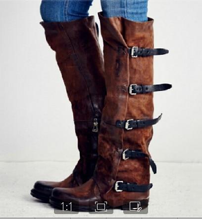 Señoras Xingdeng Vaquero Moto Punk Otoño Occidental Nobuck brown De Alto Invierno Black Botas Zapatos Hebilla Largo Top U44rxd