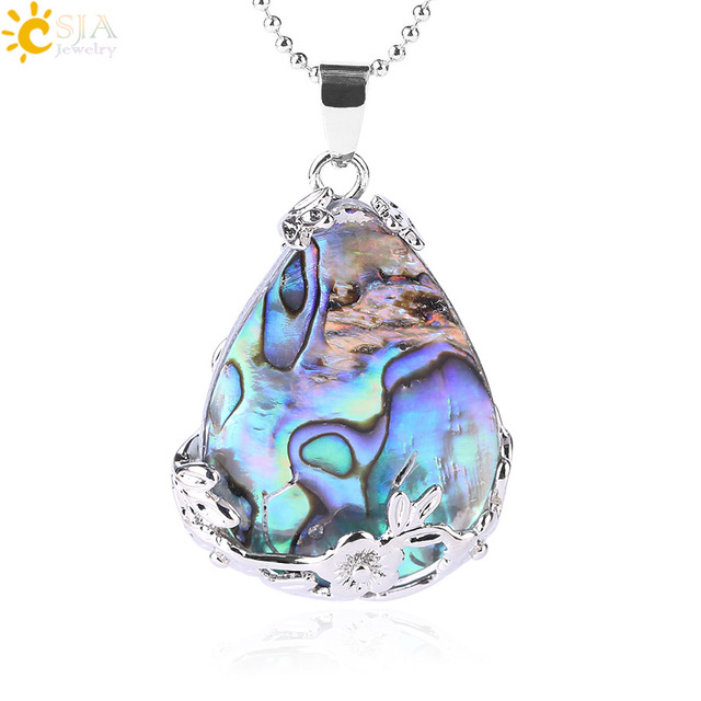 CSJA New Zealand Abalone MOP Shell Alloy Teardrop Pendant Bead Natural Gem Water Drop Paua Necklace Women Men Reiki Jewelry E460