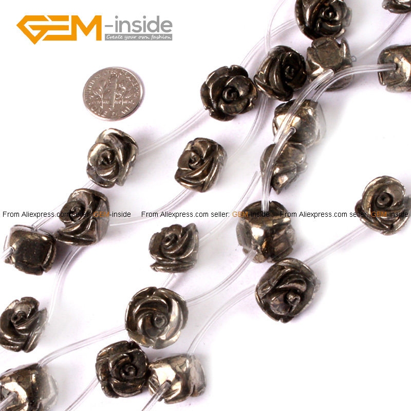 Gem-inside Natural Silver Gray Pyrite Beads Rose Plumeria Flower Shape Beads For Jewelry Making Bracelet 15inches DIY Jewellery