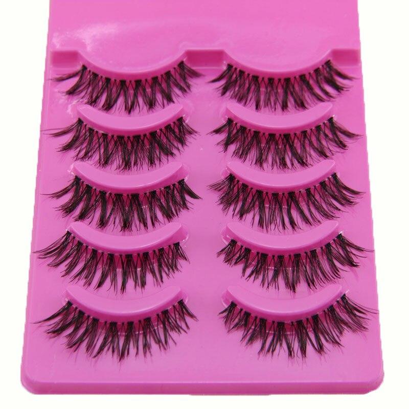 5Pairs Fashion Makeup Tips Transparent False Eyelashes Natural Individual Eyelashes Black Long Fake Eye Lashes Bigeye Beauty