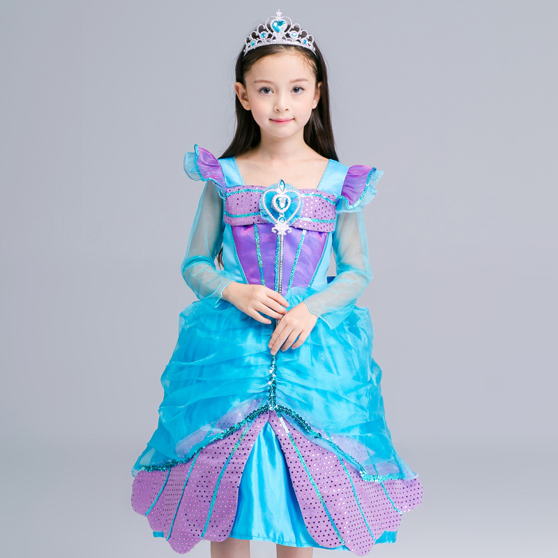 Children's Mesh Girls Princess Foreign Trade Dress Clothes Party Kids Clothing Blue children of foreign trade of the original single sequined dress adult costumes dance dressperformance clothing princess dress
