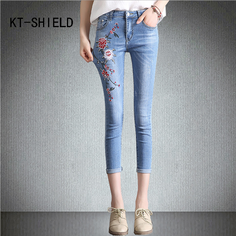 women capris pants summer skinny Jeans Woman Stretch mid waist Denim Short Ladies Flowers embroidery casual Calca Feminina fashion flowers embroidery jeans woman blue casual pants capris 2017 spring summer denim jeans female bottom trousers clothing