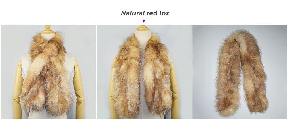 knit fox fur scarf color red fox