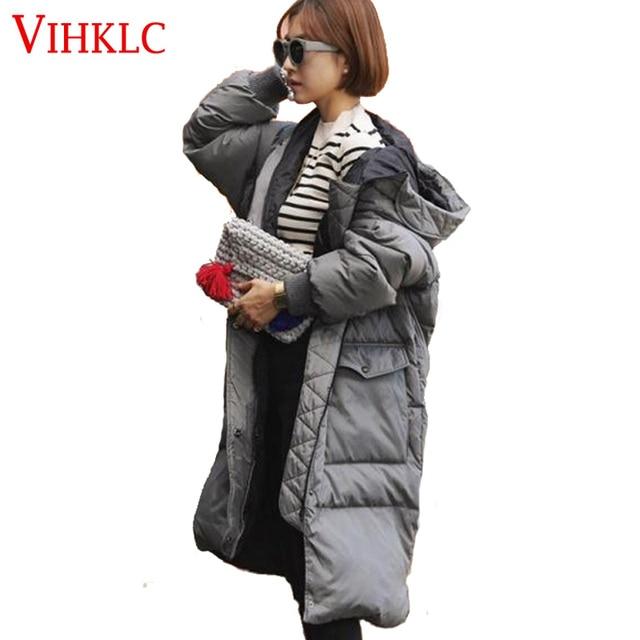 8eee6391d Mulher Jaquetas Casaco Com Capuz 2017 Inverno Nova Jaqueta de algodão  Coreano cinza Moda Preto Casaco