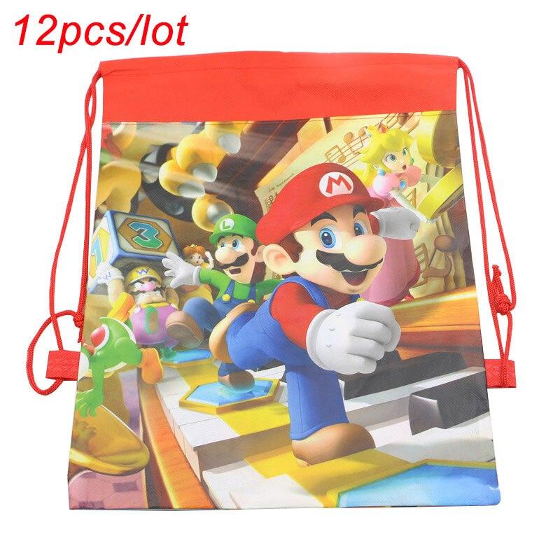 12 pçs/lote super mario bros festa de aniversário tema presentes goodie sacos de cordão não-tecido crianças favor mario mochilas de viagem sacos