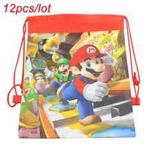 12 pçs/lote super bros tema festa de aniversário presentes não-tecido cordão goodie sacos crianças favor mochilas bros sacos de viagem