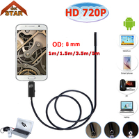 Stardot Micro USB Android Endoscope USB Inspection Camera 720P 8MM Dia 6LED Accessaries Waterproof Inspection Borescope